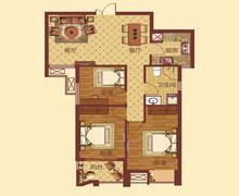B-1户型,3室2厅1卫,89.00平米
