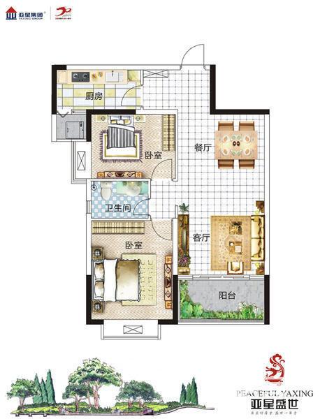 经 典 两 房,2室2厅1卫,89.00平米(在售)