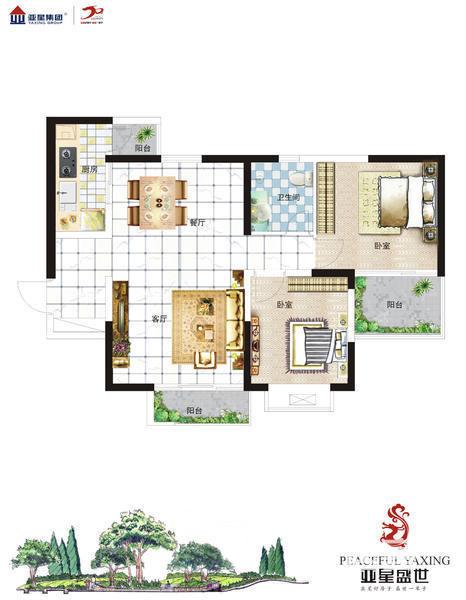 纯 南 两 房,2室2厅1卫,89.00平米 (在售)