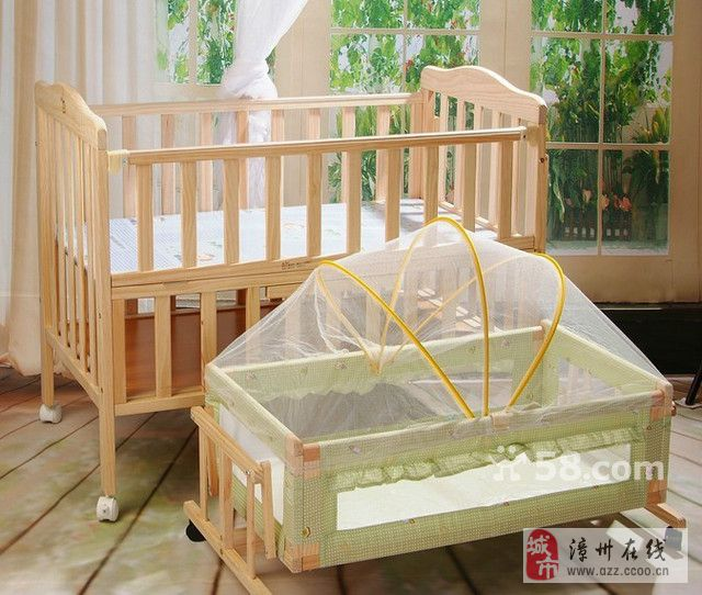 品牌泡泡鱼无油漆环保婴儿床