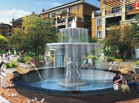 欧式花园喷泉效果图