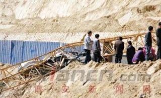 吴起县一山体滑坡将一处施工工地被埋,造成5人受伤