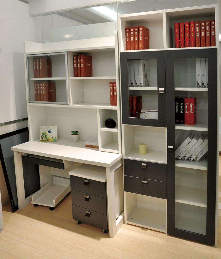木工书房电脑桌书柜效果图