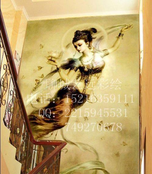 东阿墙绘家庭墙绘文化墙古建筑彩绘幼儿园彩绘