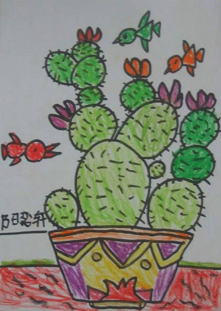 幼儿美术简笔画仙人掌
