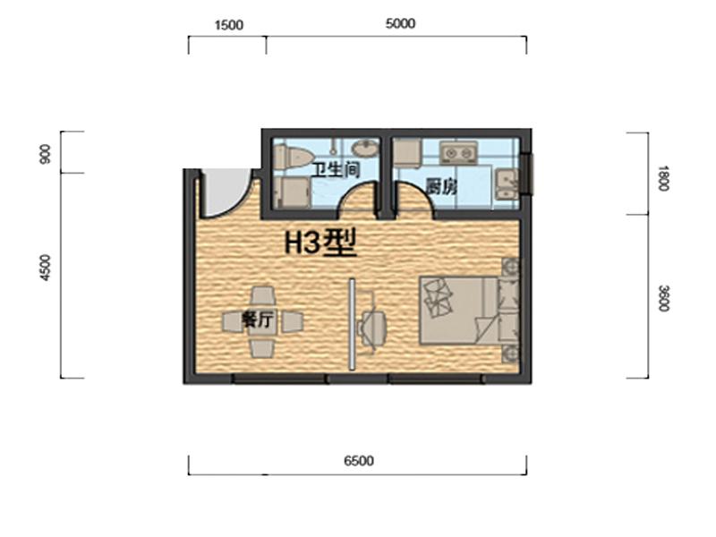 公寓户型h3约54.67�O