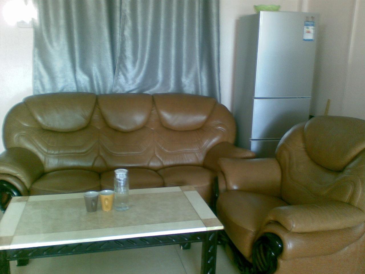 个人闲置棕色实木头层真皮沙发套装低价出售-儋州
