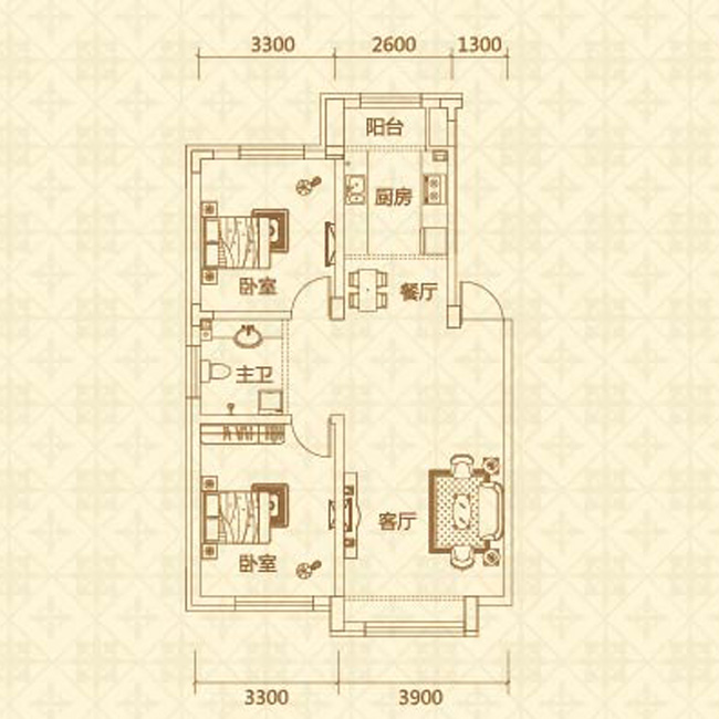 C户型(约85㎡)两室两厅一卫