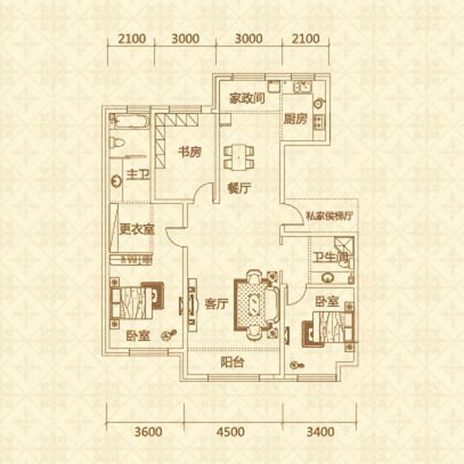 D户型(约155㎡)三室两厅两卫
