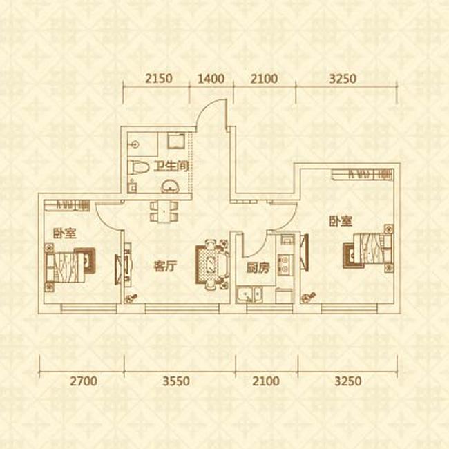 F户型(约69.69㎡)两室一厅一卫
