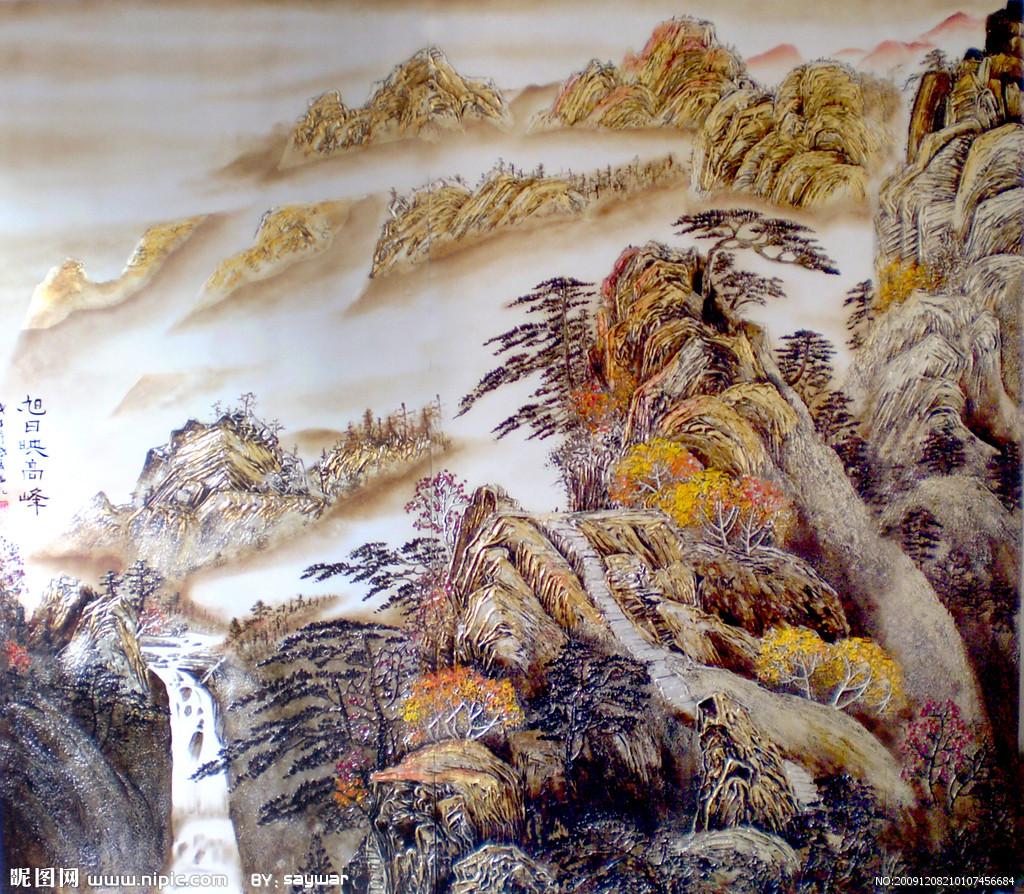 现代家具圆形山水漆画