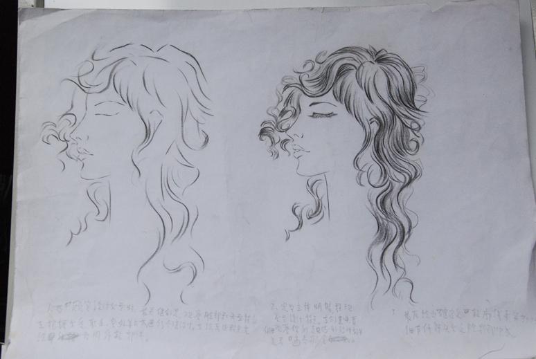 发型素描图片