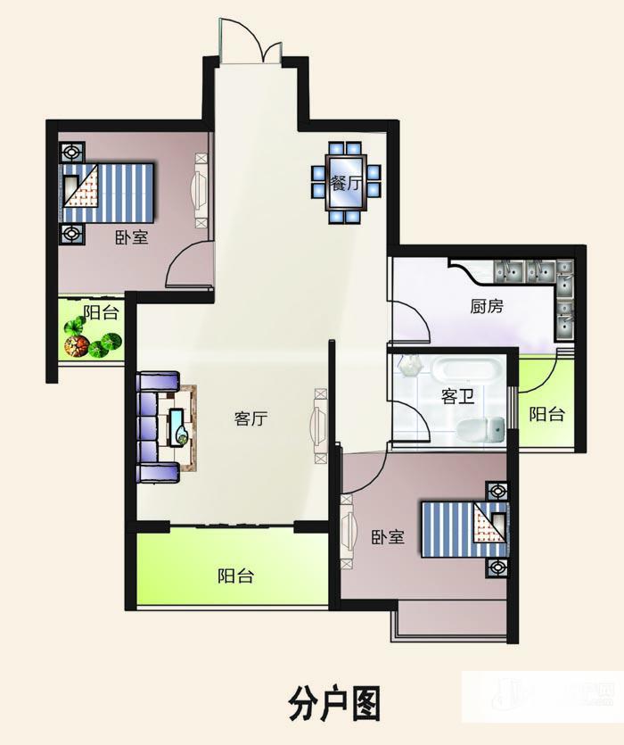 户型编号: 2室2厅1卫--b户型  楼型用途: 普通住宅