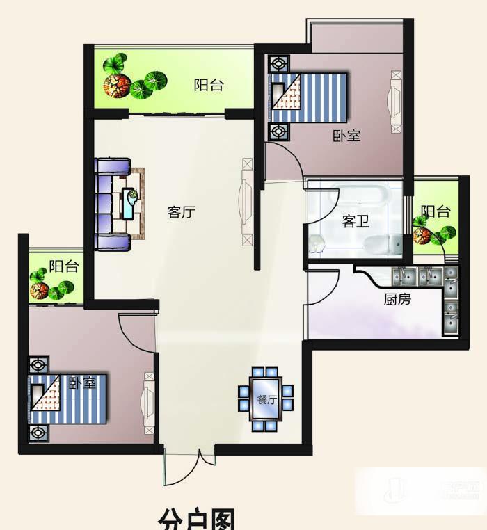户型编号: 3室2厅2卫--a户型  楼型用途: