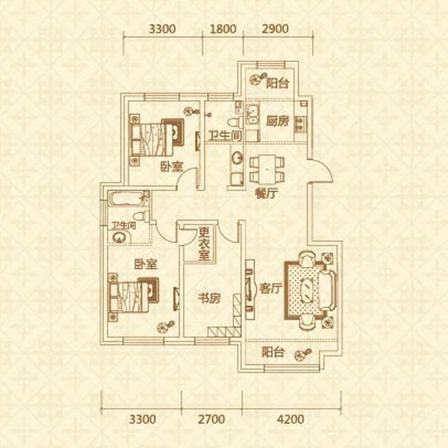 a户型(约120�O)三室两厅两卫
