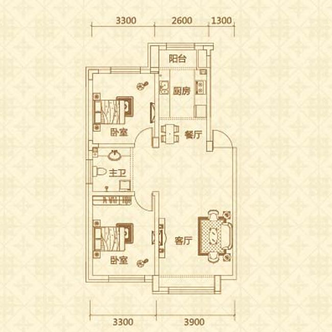 c户型(约85�O)两室两厅一卫