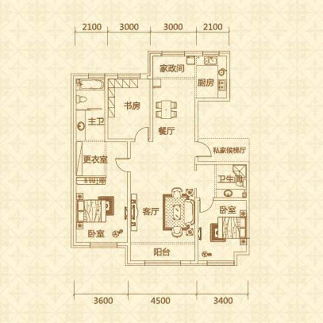 d户型(约155�O)三室两厅两卫