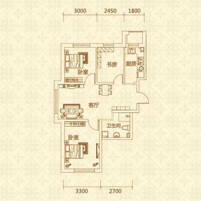 e户型(约83.44�O)三室两厅一卫