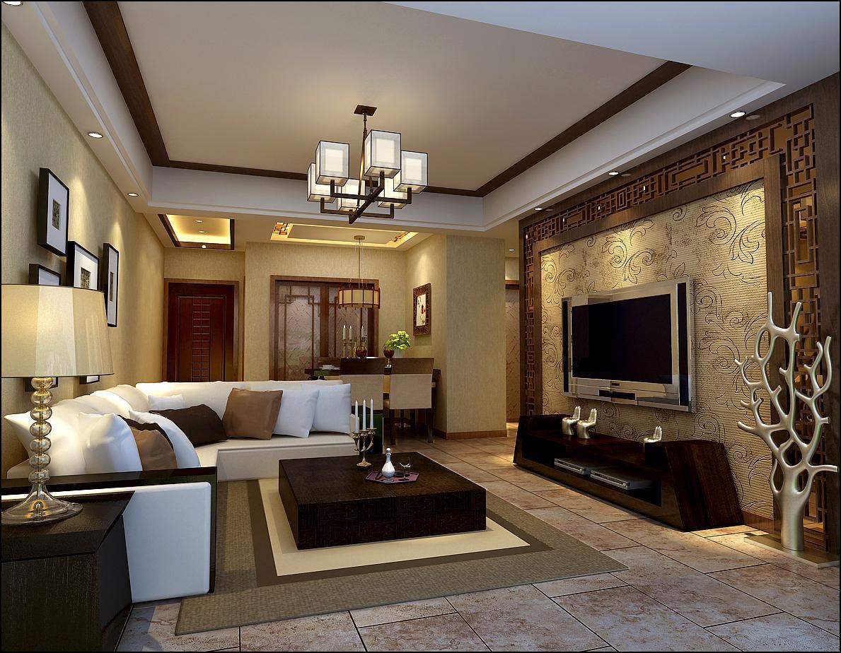 简约中式背景墙效果图,简约中式客厅效果图,简约中式影视墙效果高清图片