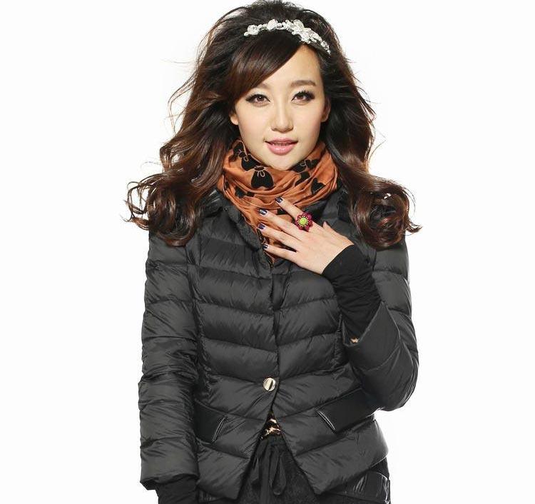 瑞丽韩诗2012冬装新款 韩版高档黑色收腰显瘦 短款羽绒服举