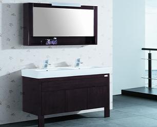 浴室柜组合 卫浴柜套装 双盆台上盆洗手盆实木柜BF-1200