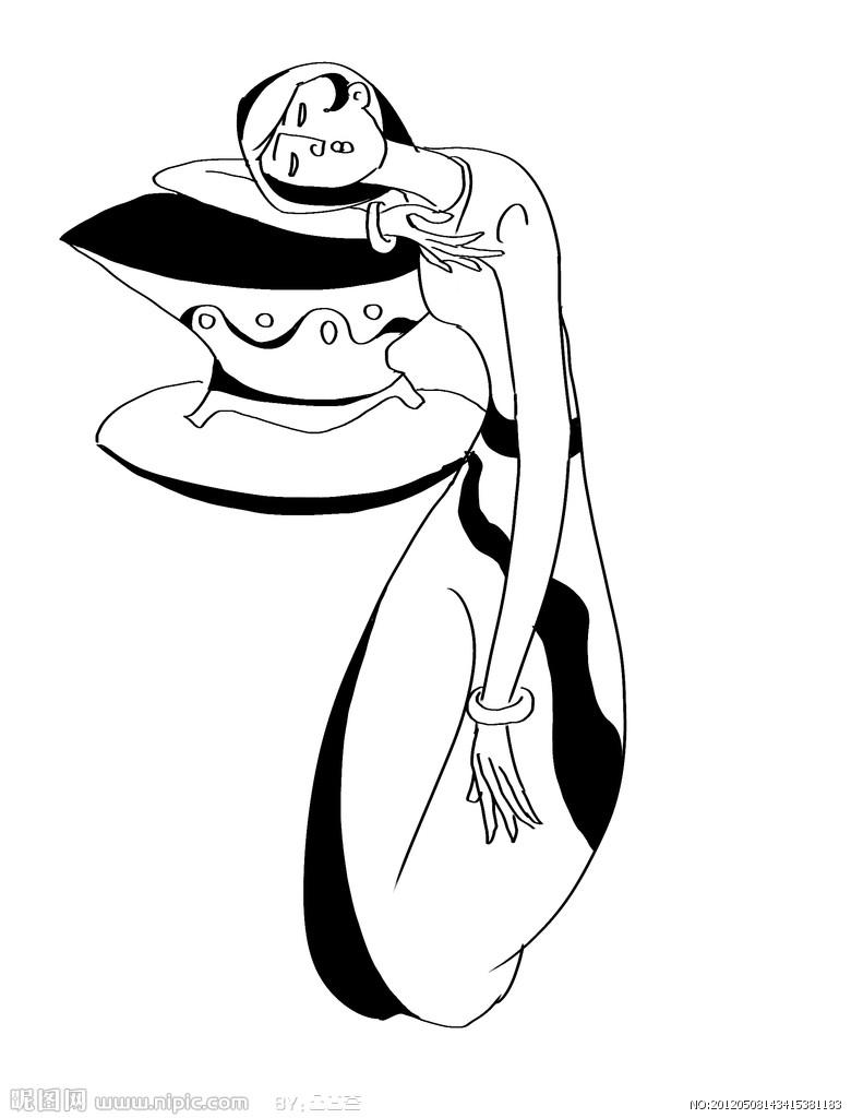 黑白画手绘古风美女