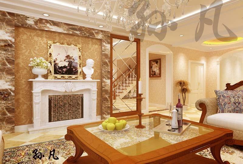 蓬莱苑别墅-欧美-复式装修效果图-蓬莱苑别墅400平别墅现代简欧风格设
