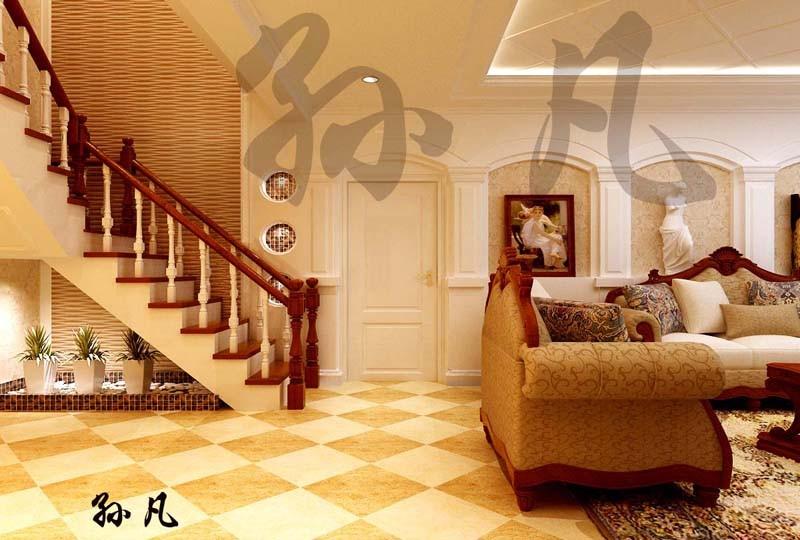 蓬莱苑别墅-欧美-复式装修效果图-蓬莱苑别墅400平别墅现代简欧风格