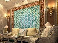 客厅背景墙―壁纸花