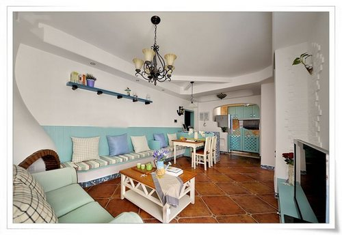 90平小清新地中海风格装修设计案例 超有异国风情