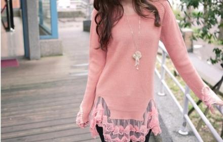 韩版秋冬中长款可爱淑女女装蕾丝下摆拼接打底毛衣裙套头针织衫