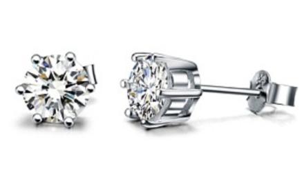 卓恩925银镶瑞士方钻经典六爪耳钉!