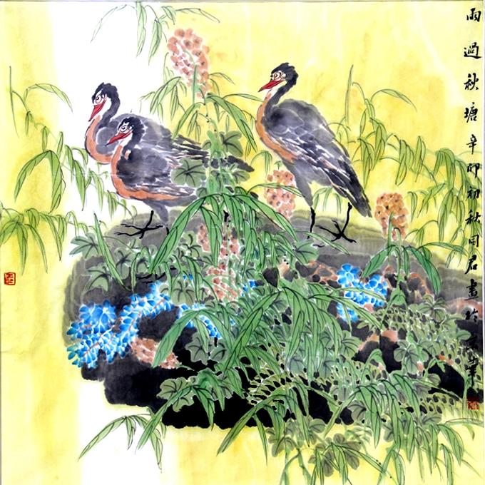 动物 国画 鸡 680_680